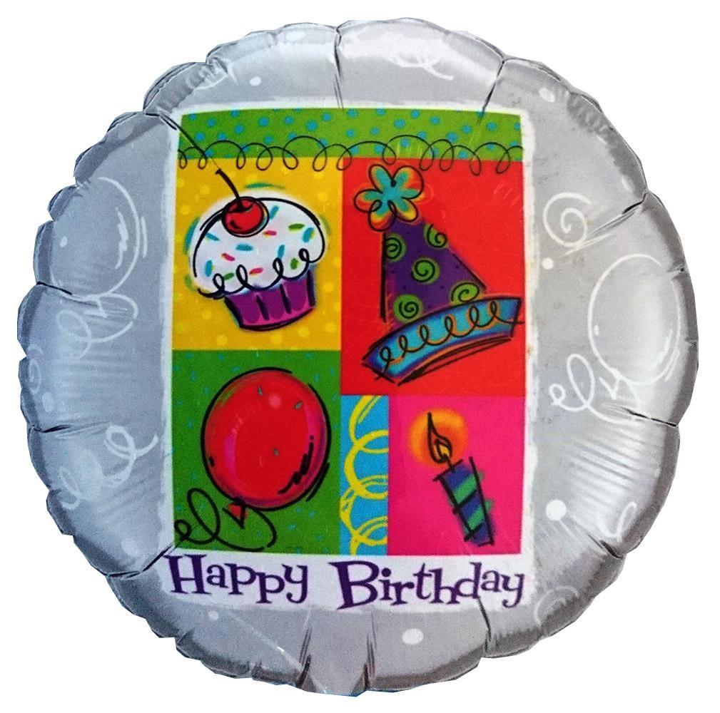 Μπαλόνι Ασημί Happy Birthday 45 εκ