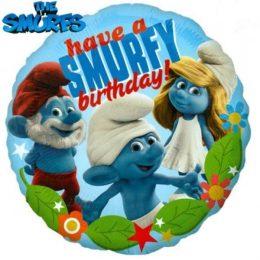 Μπαλόνι Στρουμφάκια Happy Birthday 45 εκ