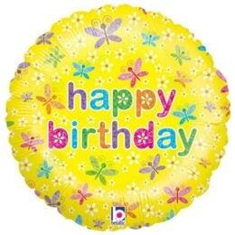Μπαλόνι για γενέθλια Κίτρινο με Πεταλούδες 'Happy Birthday'