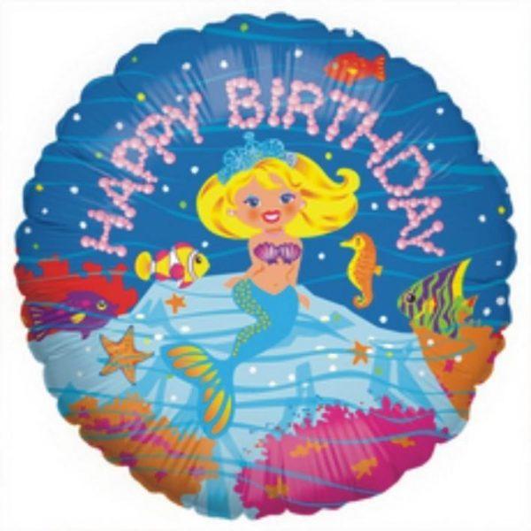 Μπαλόνι για γενέθλια Γοργόνα 'Happy Birthday'