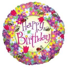 Μπαλόνι για γενέθλια Λουλούδια και μέλισσες 'Happy Birthday'