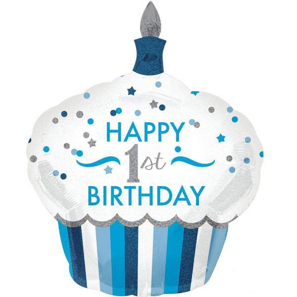 Μπαλόνι Cup Cake 1st Birthday αγοράκι 91 εκ
