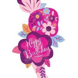 Μπαλόνι βάζο με Λουλούδια Happy Birthday 104 εκ