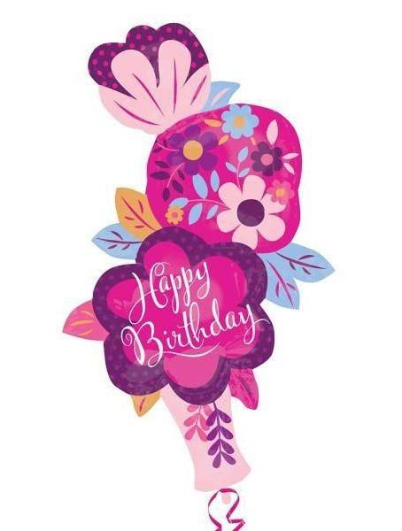 Μπαλόνι για γενέθλια βάζο με Λουλόυδια 'Happy Birthday'