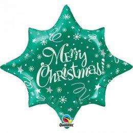 Μπαλόνι πράσινο αστέρι Merry Christmas 85 εκ
