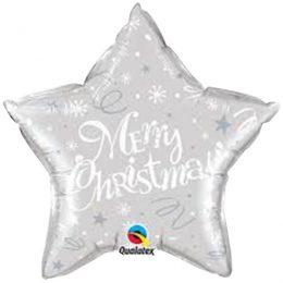 Μπαλόνι ασημί Aστέρι Merry Christmas 51 εκ