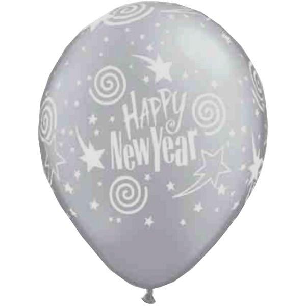 """12"""" Μπαλόνι τυπωμένο ασημί Happy New Year"""