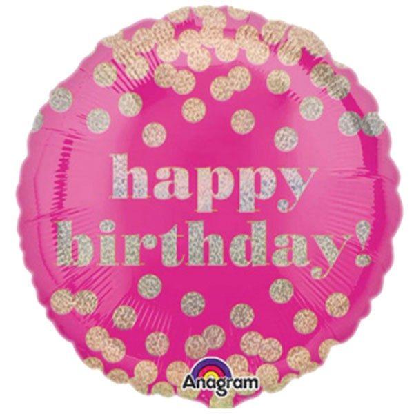 Μπαλόνι για γενέθλια φούξια πουά Happy birthday