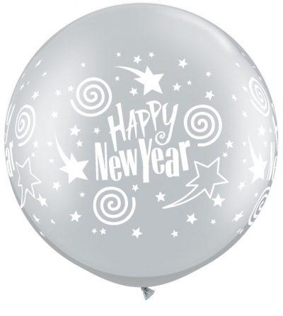 Μπαλόνι τυπωμένο ασημί Happy New Year 90 εκ