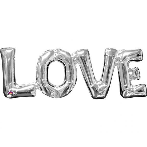 Μπαλόνι αγάπης Ασημί 'Love' 63 εκ