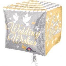 """Μπαλόνια Κύβος 3D """"Wedding Wishes"""" 38 εκ"""