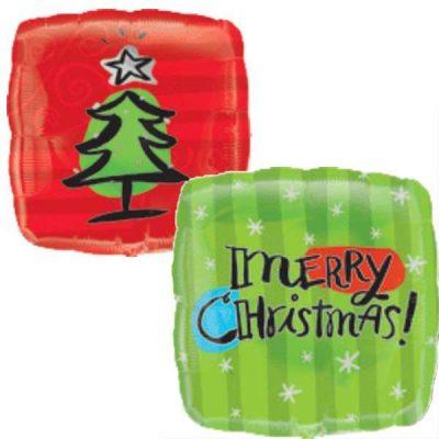 Μπαλόνι τετράγωνο Έλατο Merry Christmas 45 εκ