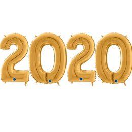 Μπαλόνι χριστουγεννιάτικο χρυσό 2020 (4 τεμ)