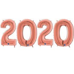 Σετ μεγάλα μπαλόνια ροζ-χρυσό 2020 (4 τεμ)