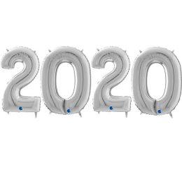 Μπαλόνι χριστουγεννιάτικο ασημί 2020 (4 τεμ)