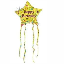 Μπαλόνι αστέρι Birthday με κορδέλες