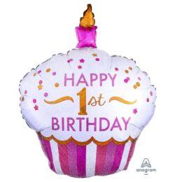 Μπαλόνι Cup Cake 1st Birthday κοριτσάκι 91 εκ