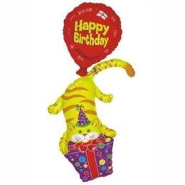 Μπαλόνι Γάτος με δώρο Happy Birthday