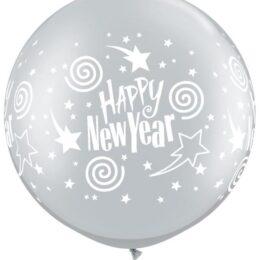 Μπαλόνι ασημί Happy New Year 90 εκ