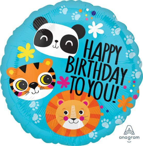 Μπαλόνι Ζωάκια της Ζούγκλας Happy Birthday