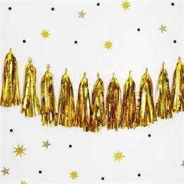 Χρυσή γιρλάντα με φούντες 12 τεμ