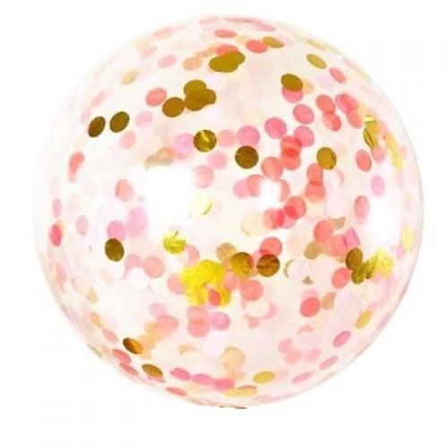"""19"""" Διάφανο μπαλόνι γεμισμένο με Ροζ & Χρυσό κονφετί"""