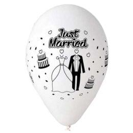 """12"""" Μπαλόνι τυπωμένο λευκό Just Married"""