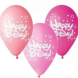 12″ Μπαλόνι Happy Bday αστεράκια ροζ αποχρώσεις