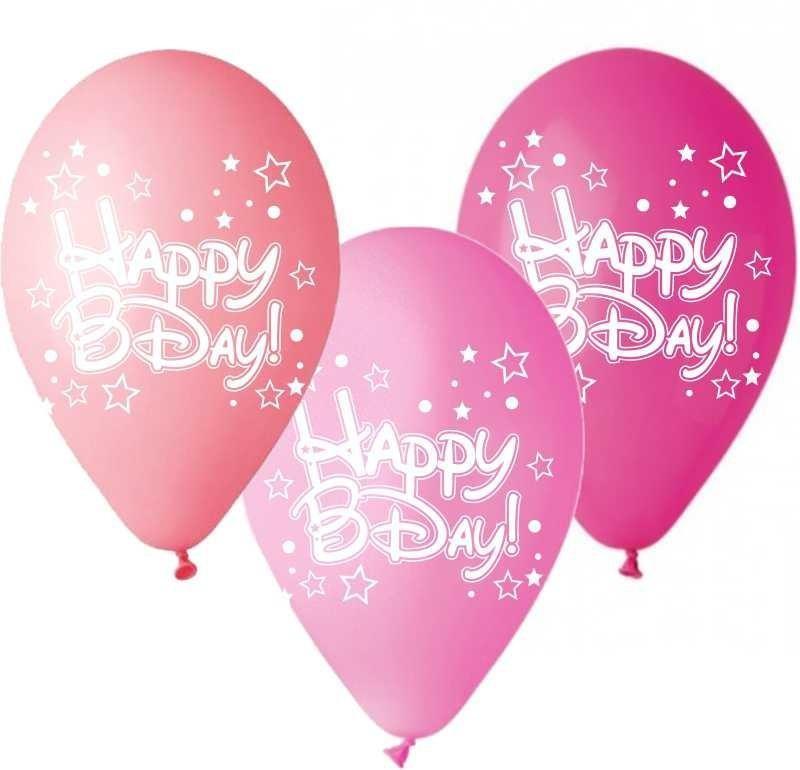"""12"""" Μπαλόνι Happy Bday αστεράκια ροζ αποχρώσεις"""