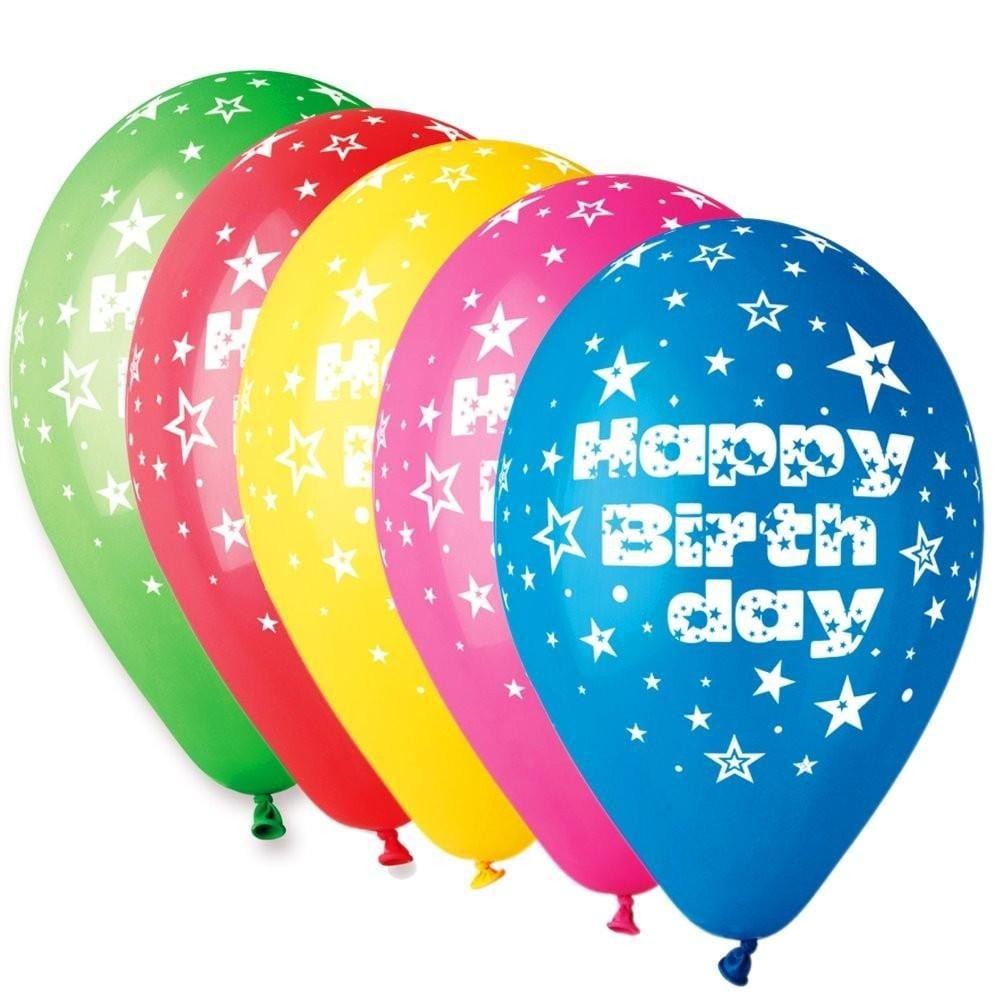 """12"""" Μπαλόνι Happy Birthday αστεράκια 5 χρώματα"""