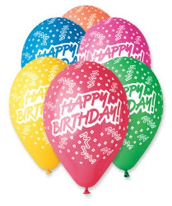 """12"""" Μπαλόνι 6 χρώματα Happy Birthday κομφετί"""