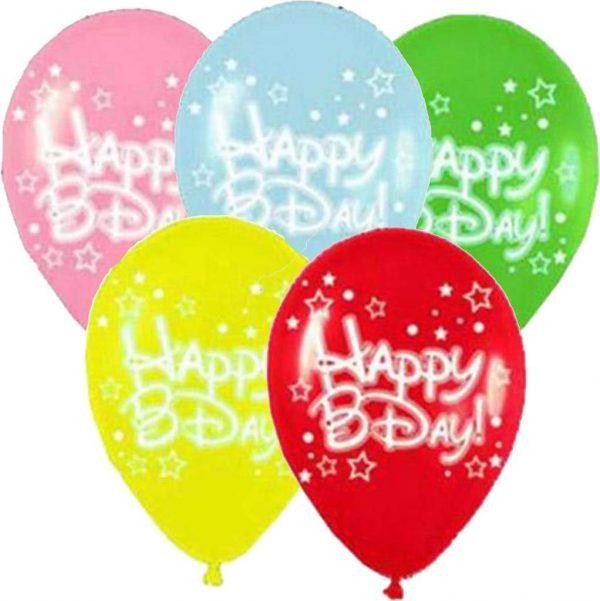 """12"""" Μπαλόνι Happy Bday αστεράκια (5 χρωμ)"""