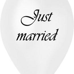 12″ Μπαλόνι τυπωμένο λευκό περλέ Just Married