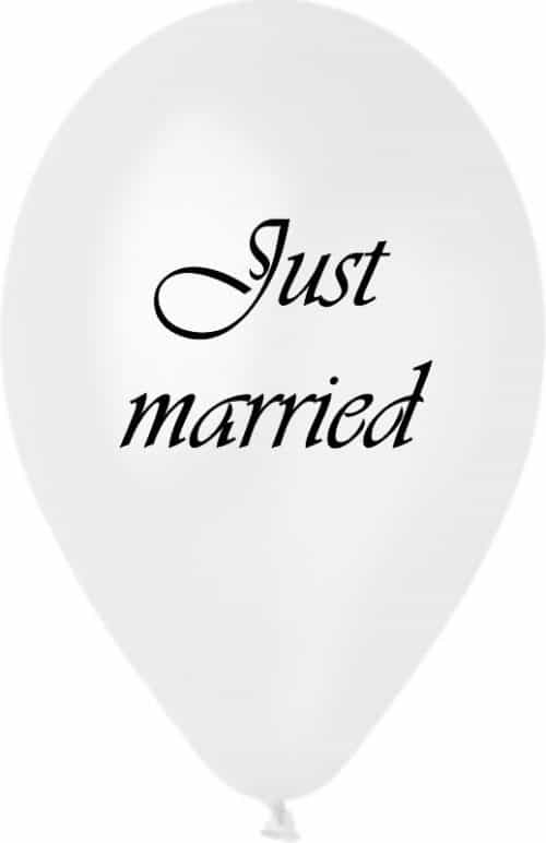 """μπαλόνια γάμου 12"""" Μπαλόνι τυπωμένο λευκό περλέ Just Married"""