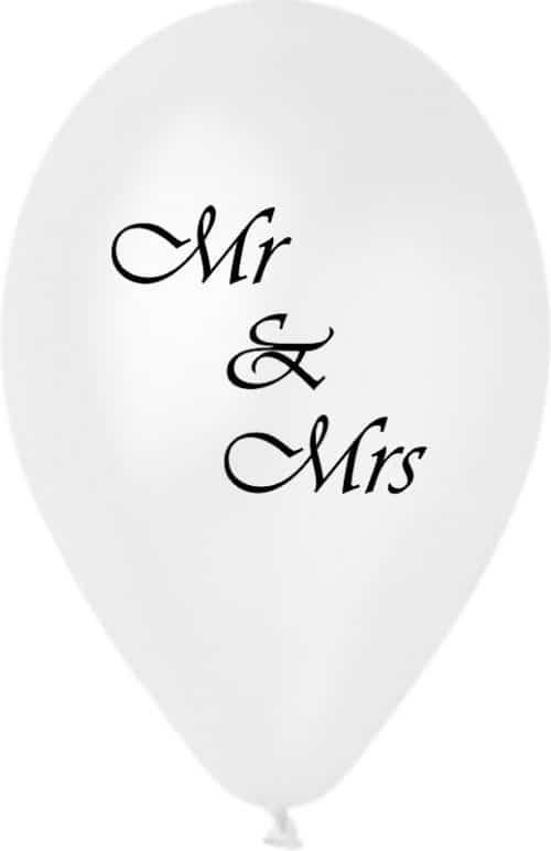 """12"""" Μπαλόνι τυπωμένο λευκό περλέ Mr & Mrs_ μπαλόνια γάμου"""