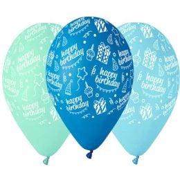 12″ Μπαλόνι Happy Bday μπλε αποχρώσεις
