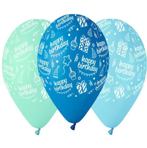 """12"""" Μπαλόνι Happy Bday μπλε αποχρώσεις"""