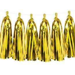 Χρυσή γιρλάντα με φούντες (12 τεμ)