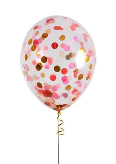 """13"""" Διάφανο μπαλόνι με Ροζ & Χρυσό κονφετί"""