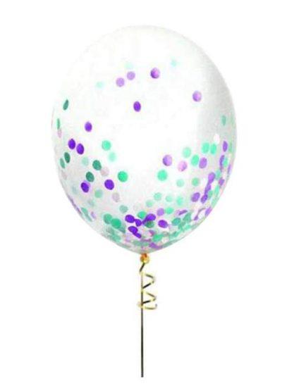 """13"""" Διάφανο μπαλόνι με βεραμάν-άσπρο-λιλά κονφετί"""