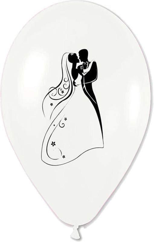 """12"""" Μπαλόνι τυπωμένο λευκό περλέ Νεόνυμφοι"""