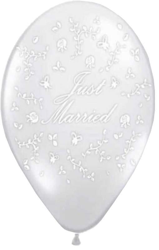 """12"""" Μπαλόνι τυπωμένο διάφανο Just Married"""