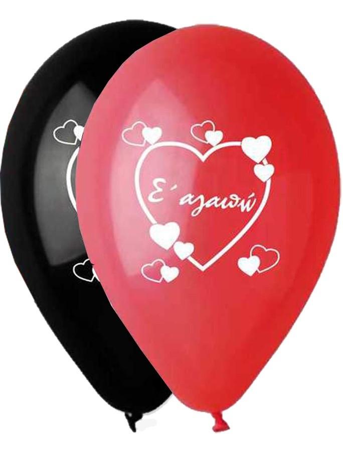 """12"""" Μπαλόνι τυπωμένο Κόκκινο-Μαύρο Σ'αγαπώ"""