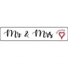 Πινακίδα αυτοκινήτου γάμου Mr & Mrs ημερομηνία