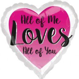 """Μπαλόνι αγάπης Καρδιά """"Love all of you"""" 45 εκ"""