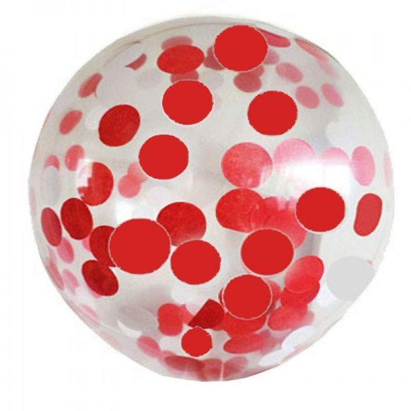"""19"""" Διάφανο μπαλόνι γεμισμένο Κόκκινο κονφετί"""