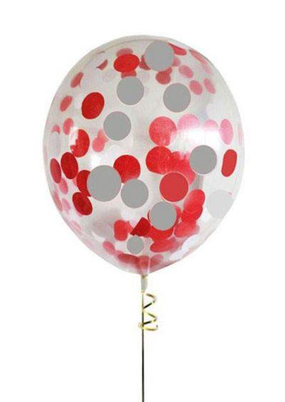 """13"""" Διάφανο μπαλόνι με Kόκκινο & Aσημί κονφετί"""