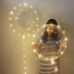 18″ Διάφανο μπαλόνι φωτιζόμενο με λευκό LED