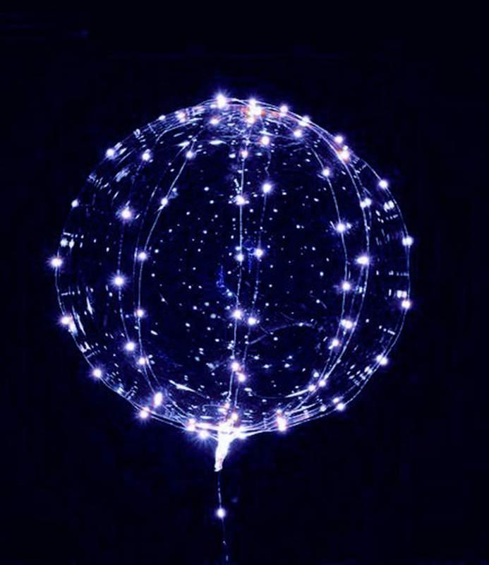 18″ Διάφανο μπαλόνι φωτιζόμενο με μπλε LED