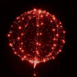 """18"""" Διάφανο μπαλόνι φωτιζόμενο κόκκινο LED"""